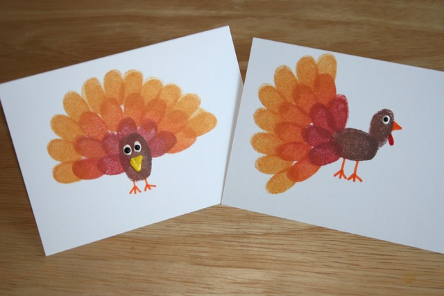 Thanksgiving craft fingerprint turkey cards the charmed mom for Thankful crafts for kids