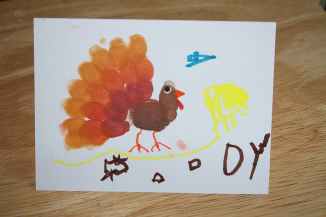 Fingerprint Thanksgiving Card