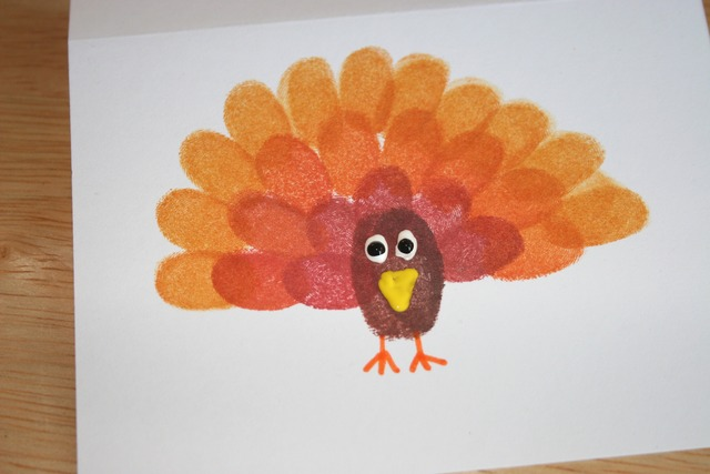 Fingerprint Turkey Cards - Front Facing