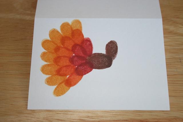 Fingerprint Turkey Cards - Side Step 2