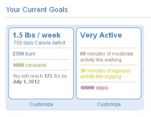 BodyMedia Activity Manager Goals